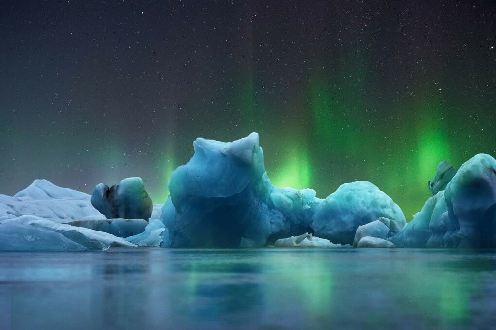 Landscape Ice Aurora Borealis Cold. Bildet vist på se nordlyset live.